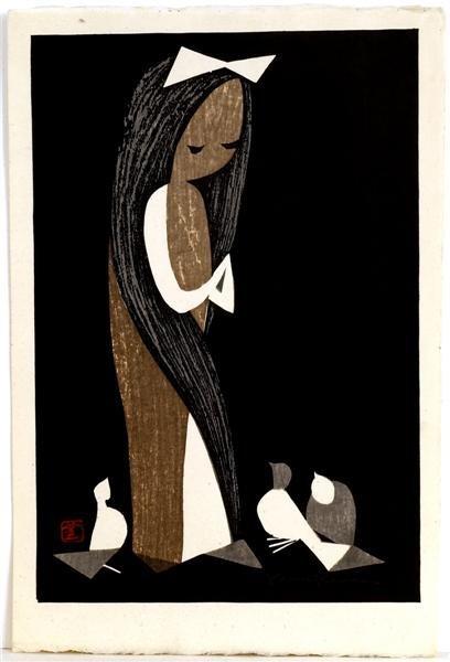 17: Old Japanese Woodblock Print Kawano Kaoru