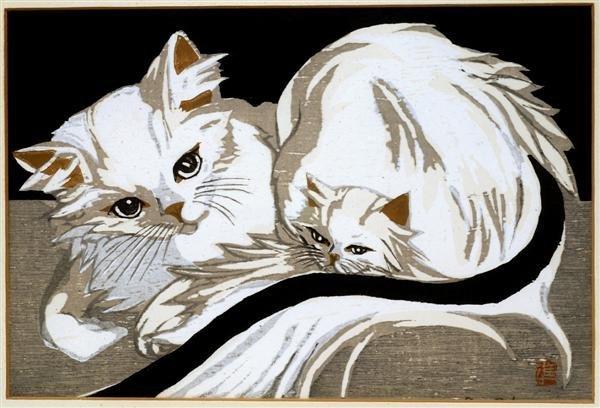 18: Old Japanese Woodblock Print Sekino, Cat