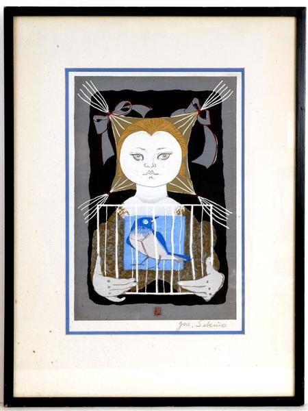 19: Old Japanese Woodblock Print Sekino, Girl & Bird