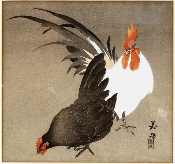 22: Old Japanese Woodblock Print Biho, Rooster