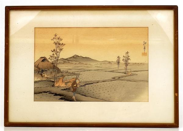 23: Old Japanese Woodblock Print Farm Scene