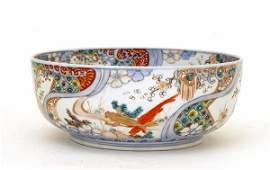 213 Lg Old Japanese Imari Koi Fish Iris Bowl