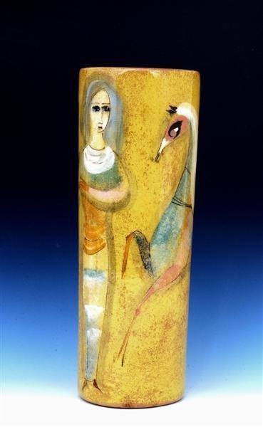 524: Polia Pillin Yellow Glaze Vase with Girl Horse Sg