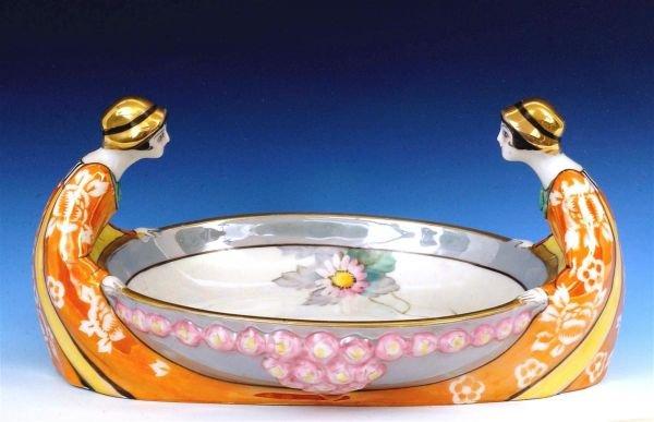 125A: Japanese Noritake Nippon Art Deco Figure Bowl Mk