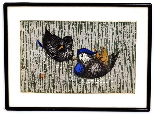 17A: Old Japanese Woodblock Print Kawano Kaoru, Bird