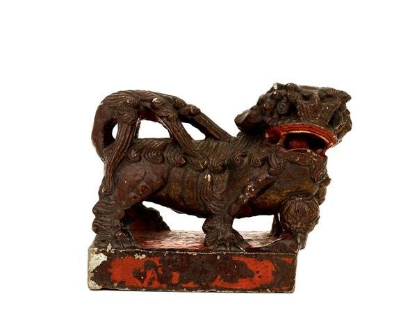 1005: Old Chinese Lacquer Stone Foo Fu Dog Lion