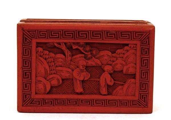 1010: Old Chinese Export Cinnabar Lacquer Box Figurine