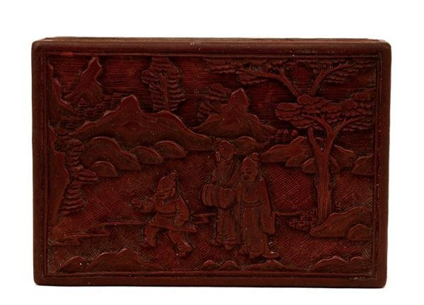 1012: Old Chinese Export Cinnabar Lacquer Box  Figurine