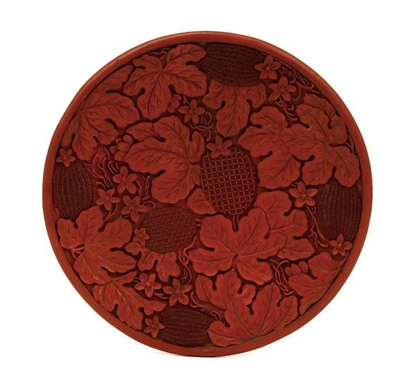 1014: Chinese Cinnabar Lacquer Plate w Melon