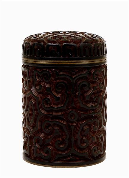 1015: Chinese Cinnabar Lacquer Humidor Tea Caddy
