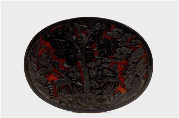1016: Old Chinese 2 Tone Cinnabar Lacquer Placque