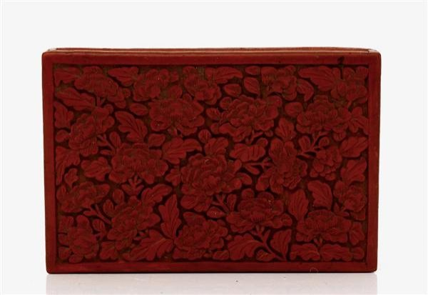 1017: Old Chinese Export Cinnabar Lacquer Box Flower