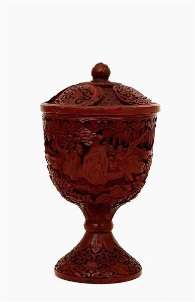 1018: Chinese Export Cinnabar Lacquer Cov Vase Figurine