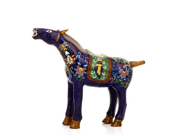 1019: Old Chinese Export Cloisonne Horse Pony Figurine