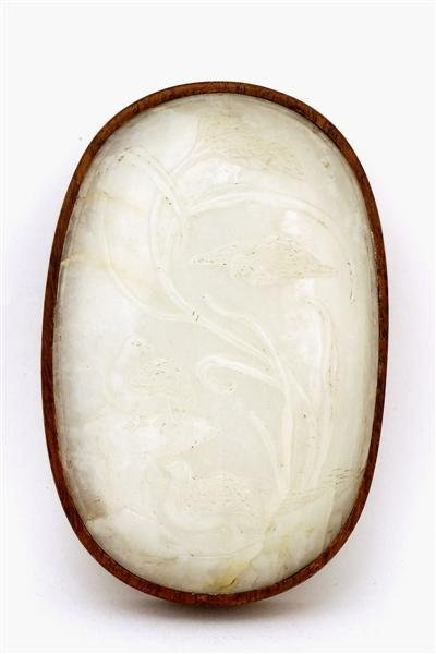 1359: 18C Chinese White Jade Nephrite Plaque Oval Box