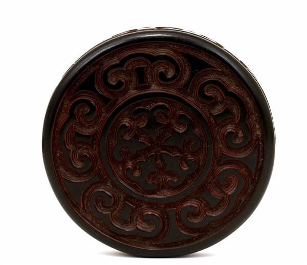 1017A: Old Chinese Dark Cinnabar Lacquer Round Box