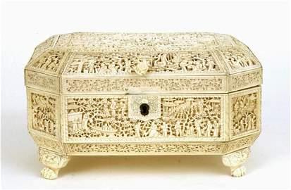 1114C: 19C Chinese Ivory Tusk Sewing Box Figurine Figur