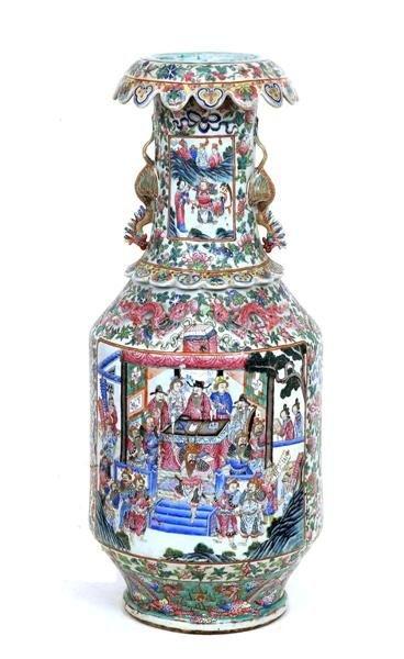 1287A: 19C Chinese Famille Rose Porcelain Figurine Vase