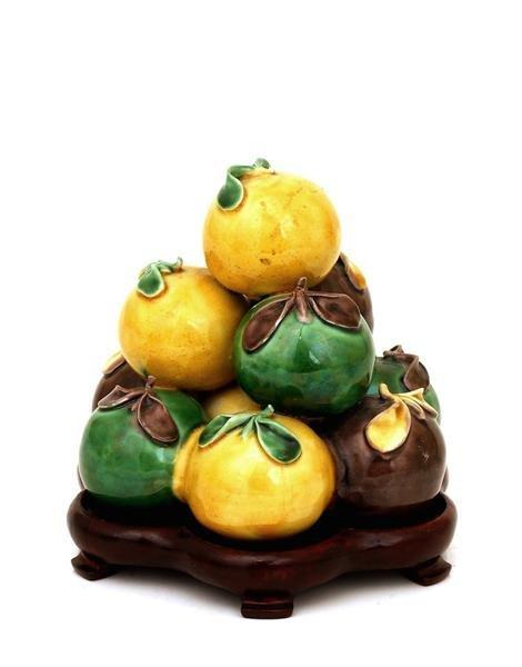 2009: Chinese Export Sancai Terra Cotta Altar Fruit Gro