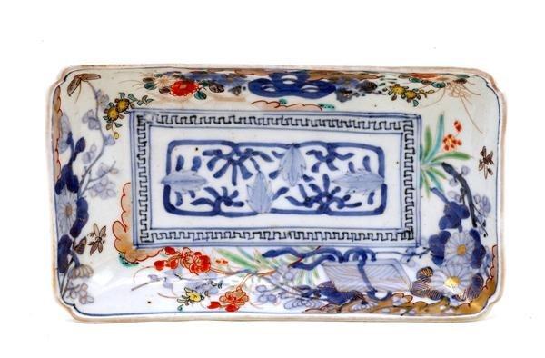 2022: Old Japanese Imari Rect. Plate w Flower