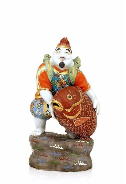 2023: Old Japanese Kutani Ebisu Figurine 7 Lucky God
