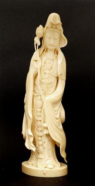 2182: Japanese Ivory Kannon Quan Yin Okimono Figure