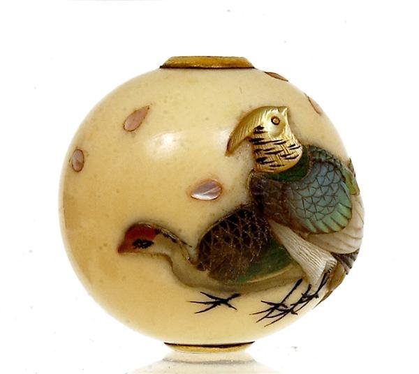 2212: Japanese Ivory Ojime Netsuke Shibayama Bird Sg