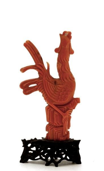 2223: 19C Chinese Red Coral Phoenix Figurine Wood