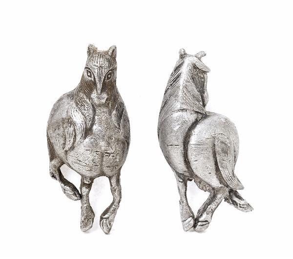 4: 19C Japanese Metal Sword Fitting Menuki Horse