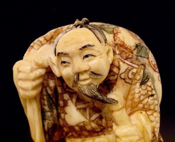 500: 4 Ivory Netsuke Figure Hotei Figurine