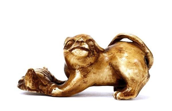 503: Japanese Ivory Netsuke Dog & Turtle Sg