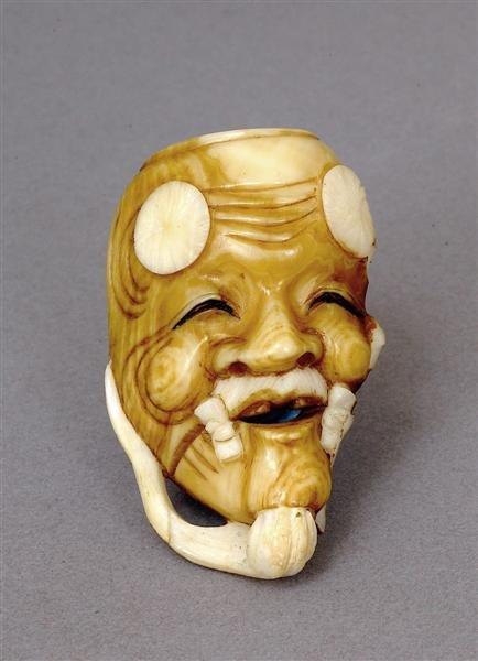 509: Japanese Ivory Netsuke Noh Mask Sg