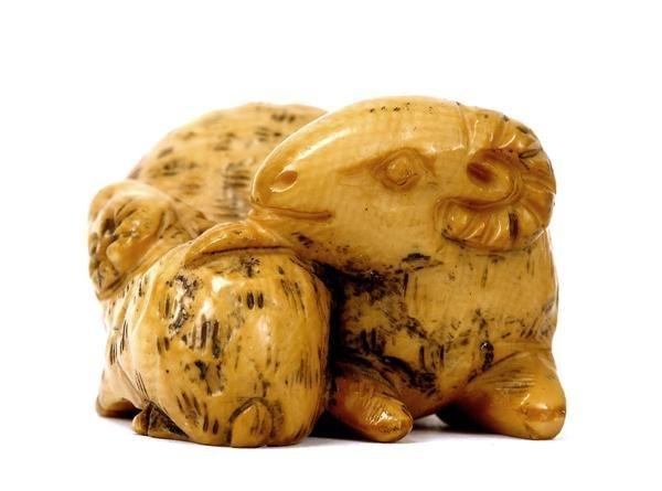 510: Japanese Ivory Netsuke Double Ram Goat Lamb Sg