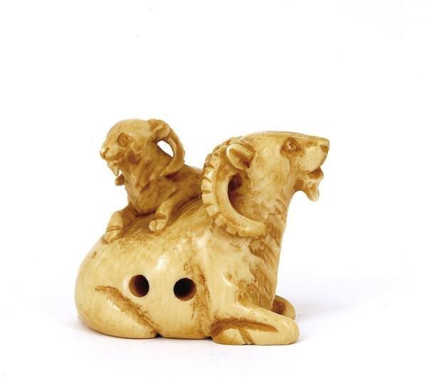 511: Japanese Ivory Netsuke Double Goat Ram Lamb Sg