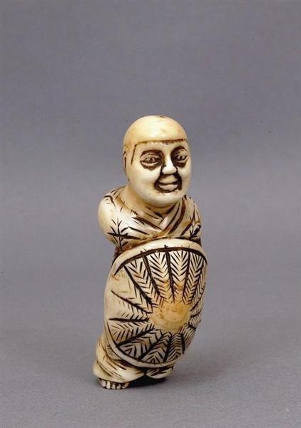 519: Japanese Marine Ivory Netsuke Buddha Monk Figure