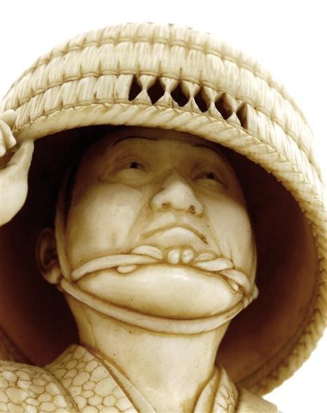 1066: Japanese Ivory Tusk Samurai Sword Figure Okimon