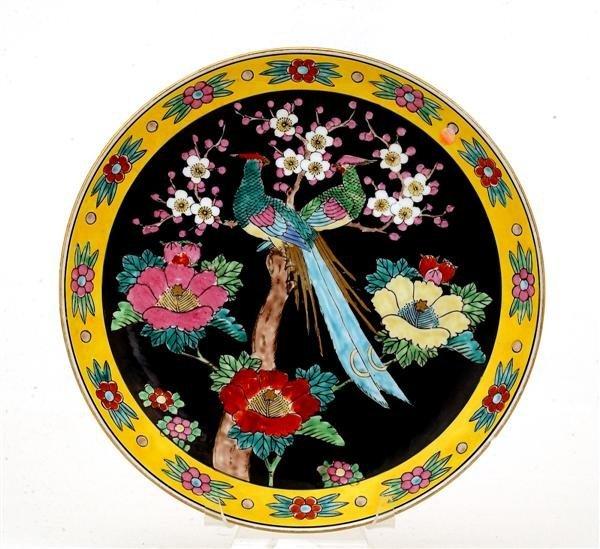 1747: Old Japanese Imari Kutani Charger Bird & Flower