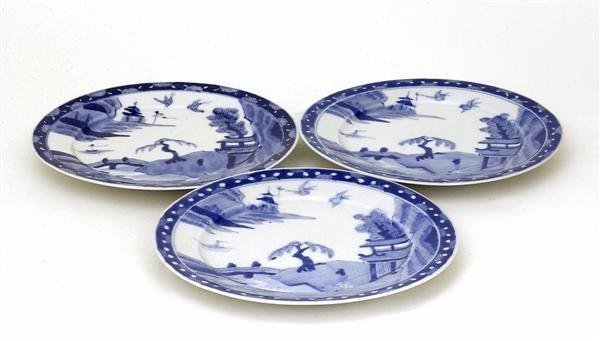 1750: 3 Japanese Arita Imari Studio Blue White Plate