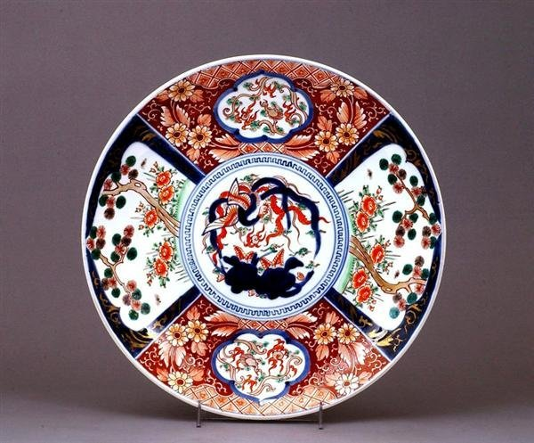 1758: Japanese Imari Kutani Dragon Phoenix Charger