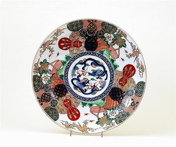 1762: Japanese Imari Charger Dragon Tapestry Gourd