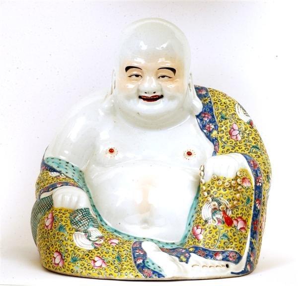 2165: Lg Old Chinese Famille Rose Buddha Figure Sg