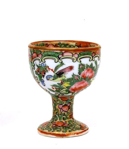 2501: 19C Chinese Export Rose Medallion Egg Cup