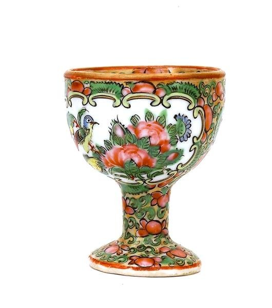 2501: 19C Chinese Export Rose Medallion Egg Cup - 4