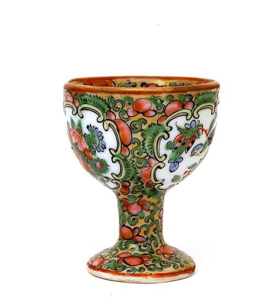 2501: 19C Chinese Export Rose Medallion Egg Cup - 5