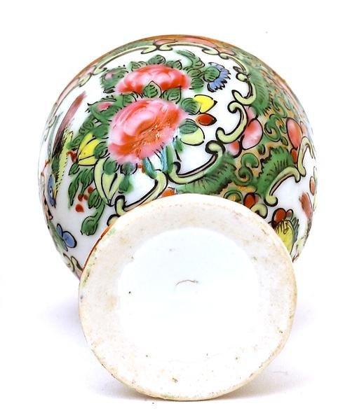 2501: 19C Chinese Export Rose Medallion Egg Cup - 7