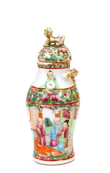 2507: Chinese Famille Rose Porcelain Cov Vase