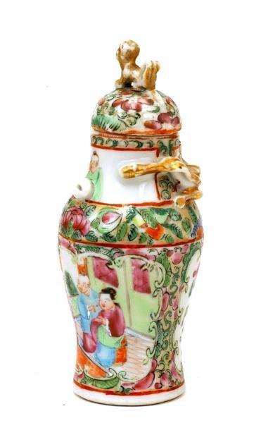 2507: Chinese Famille Rose Porcelain Cov Vase - 4