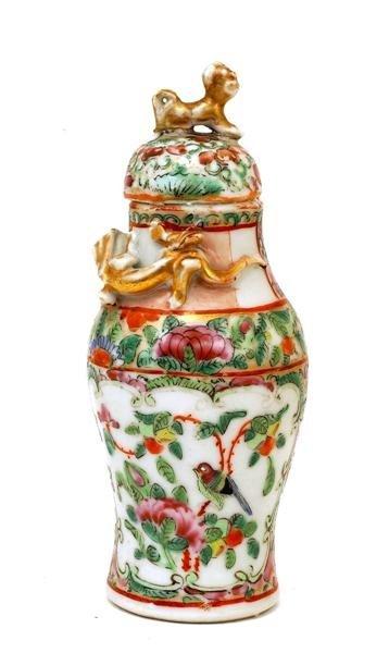 2507: Chinese Famille Rose Porcelain Cov Vase - 6
