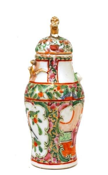 2507: Chinese Famille Rose Porcelain Cov Vase - 7