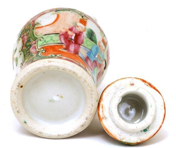 2507: Chinese Famille Rose Porcelain Cov Vase - 8